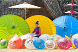 Thai Woman In Traditional Costume Of Thailand painting umbrella,chiangmai Thailand,Thailand cultue,Lanna culture style - 135432028