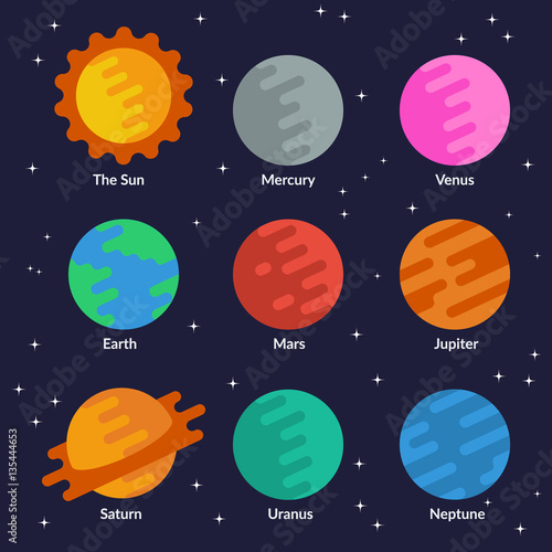 Fototapeta Solar system planets and the sun. Vector set in flat style.