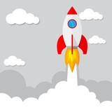 Rocket launch. Vector illustration.