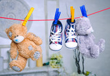 Clothing newborn baby closeup. Horizontal.