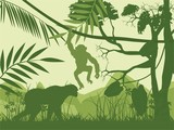 Jungle and animals green vector silhouettes