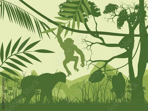 Dżungli i zwierząt zielone wektorowe sylwetki