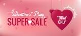 Sale header or banner set with discount offer for Happy Valentine's Day celebration. Vector illustration