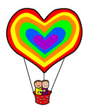 Gay Couple in Rainbow Heart Balloon Happy Valentines