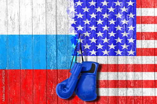 Flag of Russia and USA painted on the wooden board Poster