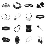Jewelry and accessories set icons in black style. Big collection of jewelry and accessories vector symbol stock illustration