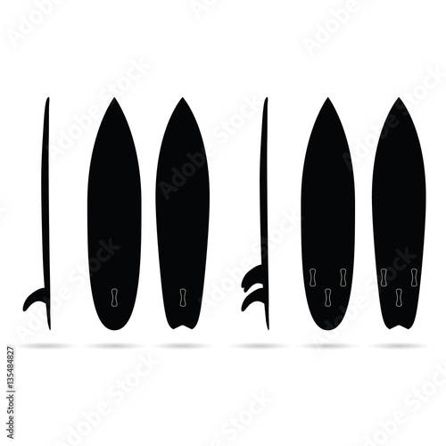 Fototapeta surfboard set in black color design illustration
