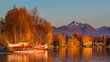Warm colors of sunset at Spenard Lake in Anchorage. USA