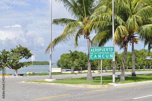 Signpost on th street in Cancun - Mayan Riviera, Yucatan Peninsula