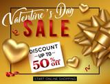 Valentines day sale poster for online shop. Vector illustration.