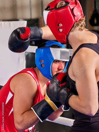 Poster Boxing ring with two men boxer