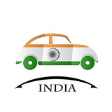 car icon made from the flag of India