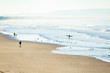 Surfer and visitors walk on the beach at sunrise in Pismo Beach