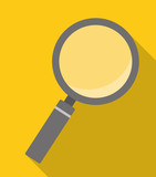 magnifying glass over yellow background icon image vector illustration design