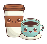 coffee cup kawaii icon image vector illustration design