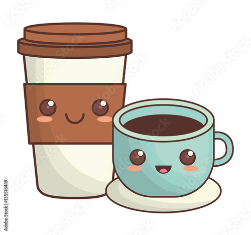 coffee cup kawaii icon image vector illustration design  - 135516449