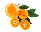 Top view of fresh orange juice