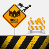 under construction sign barrier road helmet vector illustration eps 10