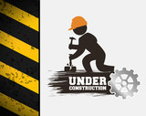 under construction poster worker hammer gear vector illustration eps 10