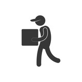 delivery man cardboard box with cap figure pictogram vector illustration eps 10