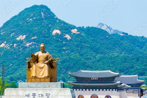 Keuken foto achterwand Seoel Seoul King Sae Jong Dae Statue Gyeongbokgung