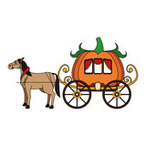 horse with medieval carriage in pumpkin shape icon over white background. colorful design. vector illustration