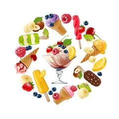 Set icons of ice cream