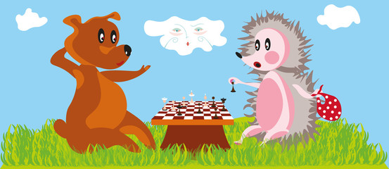 funny cartoon illustration with a bear and little hedgehog playing chess and a cloud in the sky observing the scene