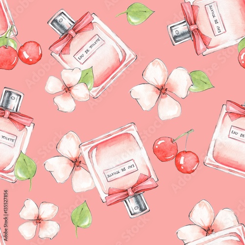 Materiał do szycia Bottle of perfume and flowers. Seamless pattern. Hand drawn fashion background 20