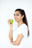 Smiling Young Pretty Indian Woman Holding Apple