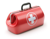 First aid kit in retro red doctors bag