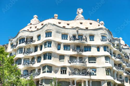 Póster Facade of Casa Mila in Barcelona