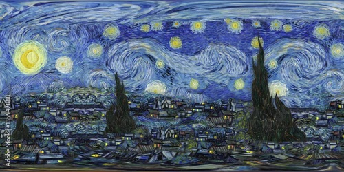 Starry Night - Recreation - VR 360 Animation - Loop © Creuxnoir