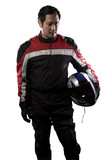 Fototapety Man wearing a protective leather and textile racing suit for race cars and motorcycle motor sports.  The gear is armored with a helmet and worn by bikers and professional drivers.