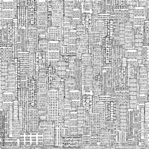 In de dag Art Studio Cityscape, highly detailed hand drawn background