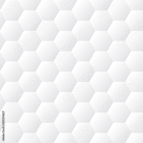 Seamless dented hexagons white wall texture. Honeycomb background vector pattern - 135554627