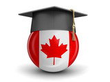 Graduation cap and Canadian flag. Image with clipping path
