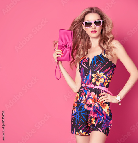 Plakat Fashion woman in Trendy Spring Summer Dress