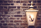 Background of brick wall with lantern
