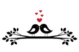 Silhouettes cute birds kiss and red hearts
