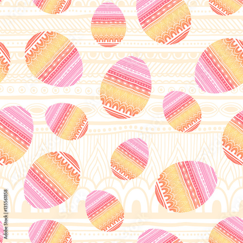 Cotton fabric Easter knitted eggs seamless pattern