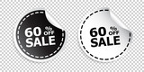 Sale sticker. Sale up to 60 percents. Black and white vector illustration.