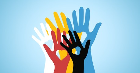 Multicolored volunteers hands with heart shaped