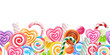 Lollipops candy border background. Hard candies on stick.