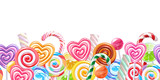 Lollipops candy border background. Hard candies on stick. - 135569259