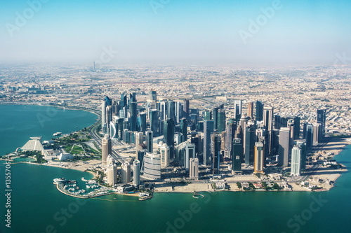 Aerial view of Doha in Qatar