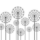 Black stylized dandelions on white background