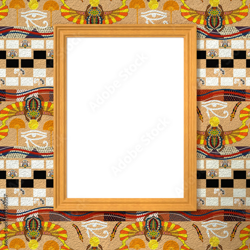 Plagát Frame with a white canvas on the bright ethnic background with E