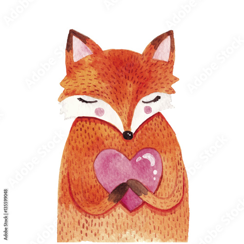 Watercolor cute fox with heart - 135599048