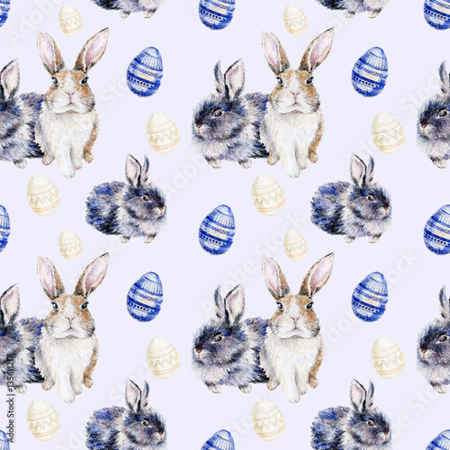 Materiał do szycia Watercolor seamless Easter pattern with bunnies and colored eggs. Repeating background  with rabbits.